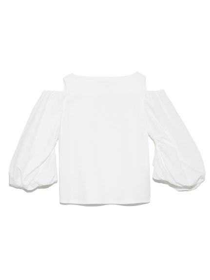 肩あき袖ボリュームカットトップス(WHT-36)