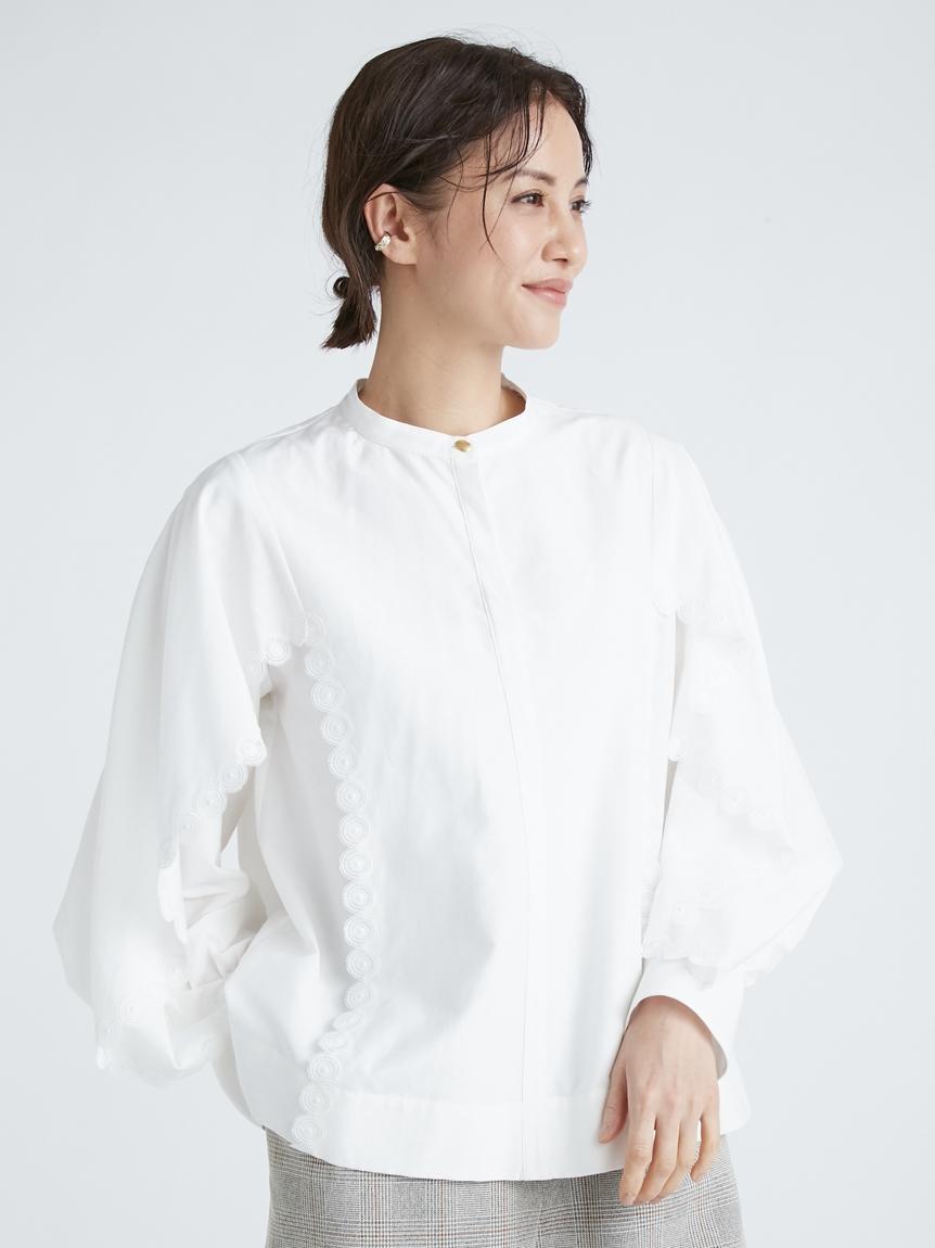 コットンシルク刺繍ブラウス(WHT-F)