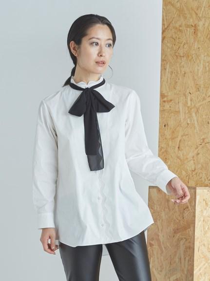 ボウタイ付きスカラップシャツ(WHT-36)