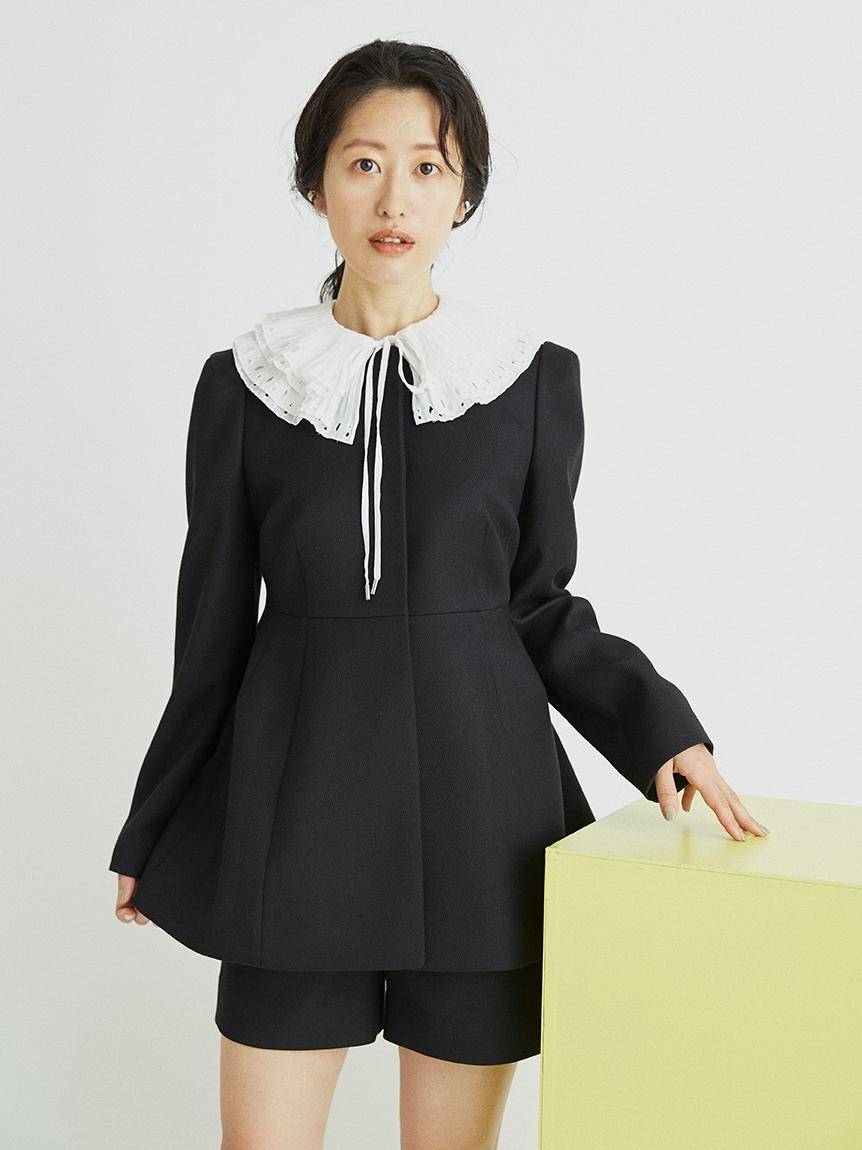 ミドル丈ペプラムジャケット(BLK-36)