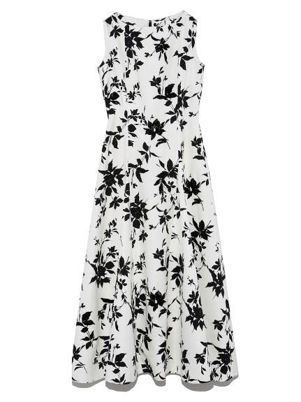 フラワープリント刺繍ドレス(WHT-36)