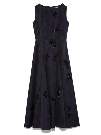 フラワープリント刺繍ドレス(NVY-36)