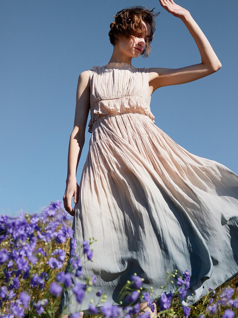 グラデ―ションプリーツドレス
