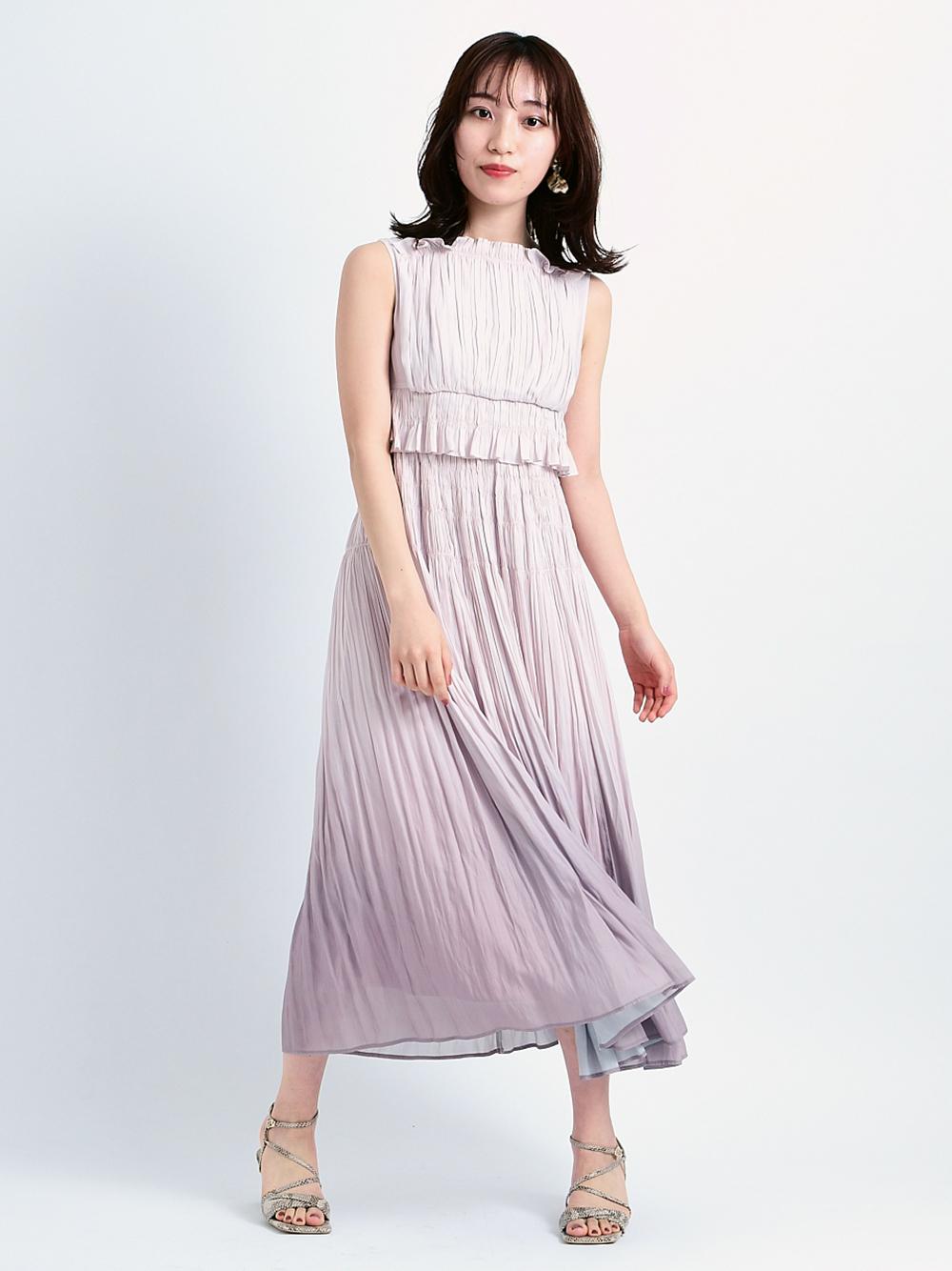 グラデ―ションプリーツドレス(PNK-36)