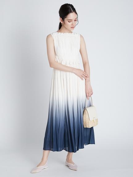 グラデ―ションプリーツドレス(NVY-36)