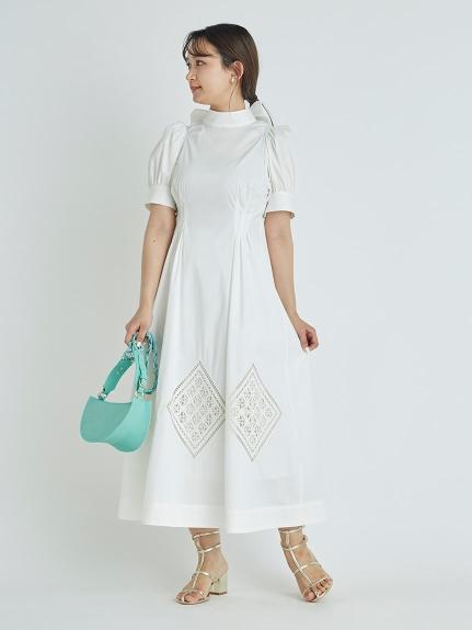 バックリボン刺繍ワンピース(OWHT-36)
