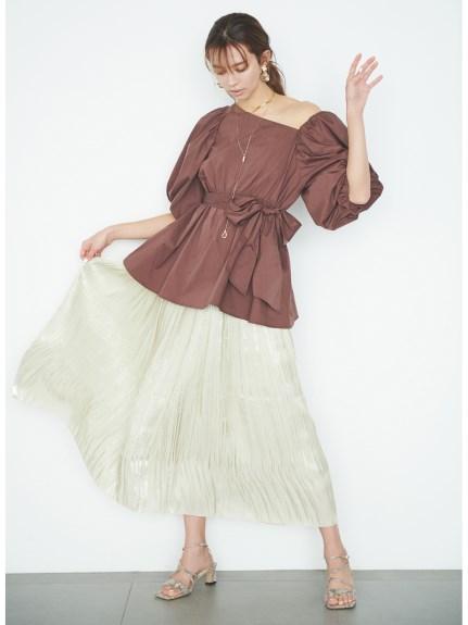 オーロラサテンプリーツスカート