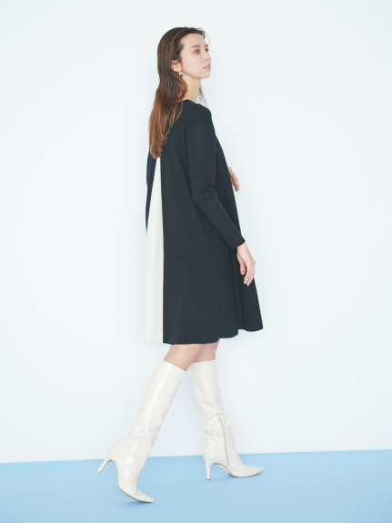 【NEW Year Special Knit Dress】バイカラーAラインニットワンピース