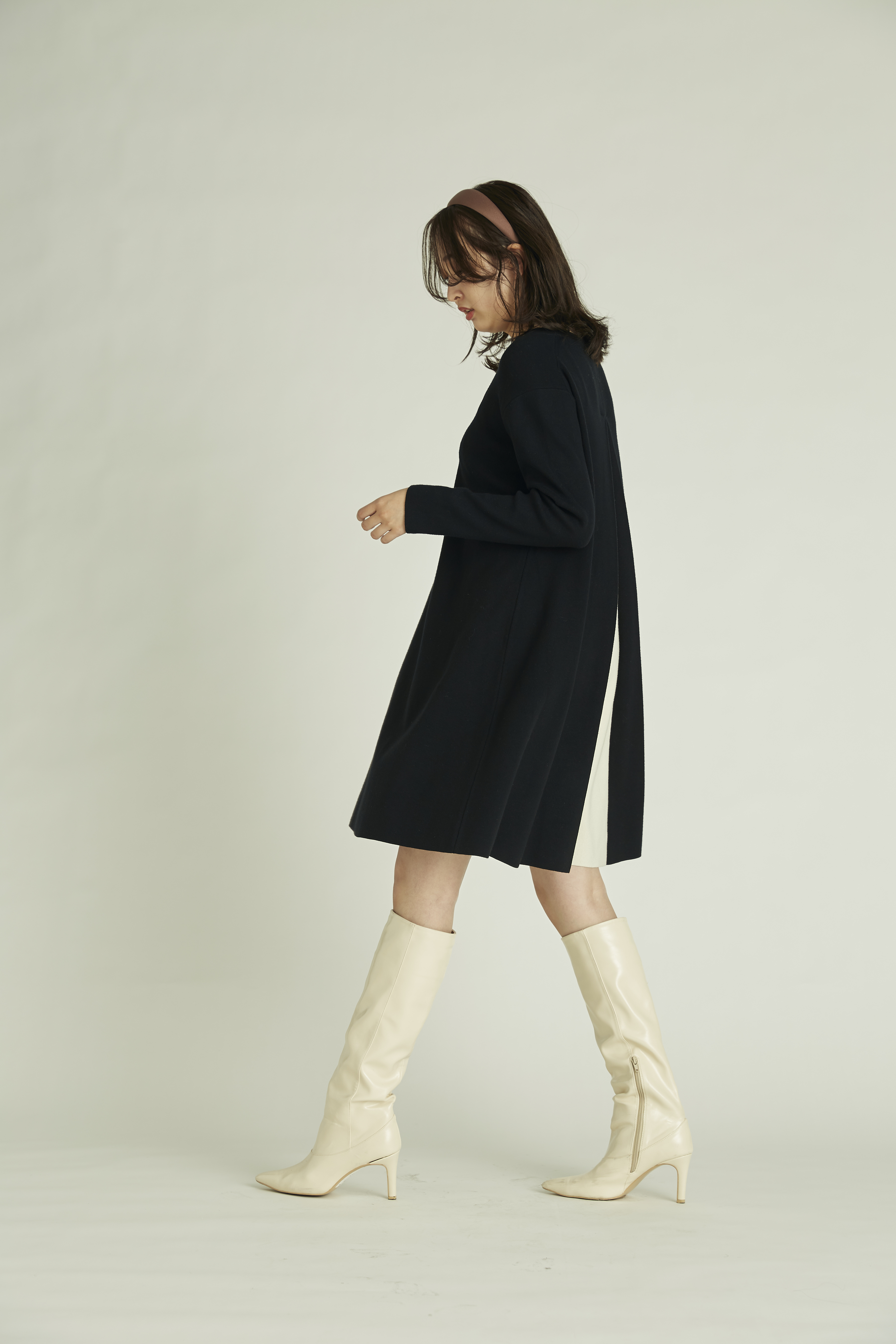 【NEW Year Special Knit Dress】バイカラーAラインニットワンピース(BLK-36)