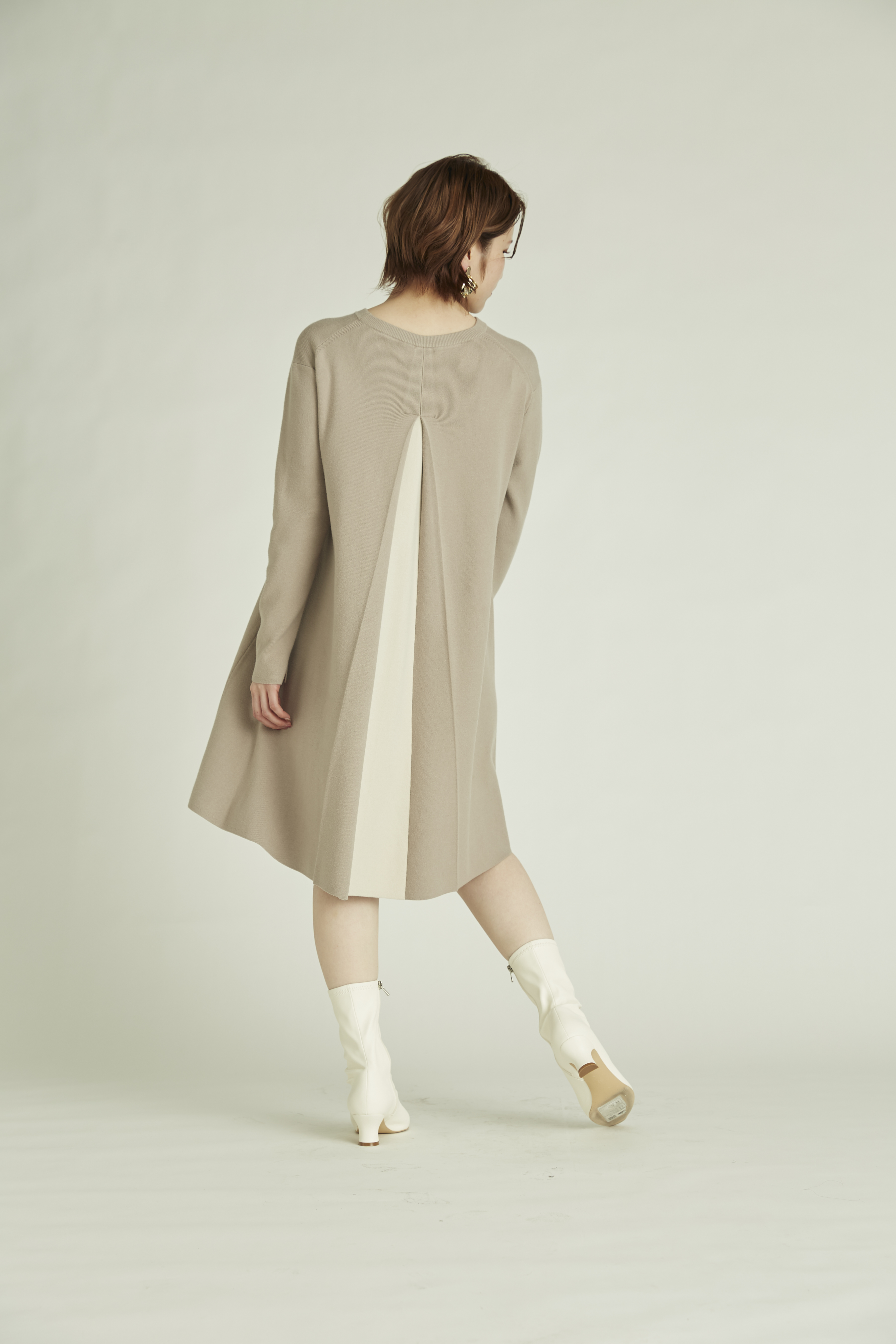 【NEW Year Special Knit Dress】バイカラーAラインニットワンピース(GBEG-36)
