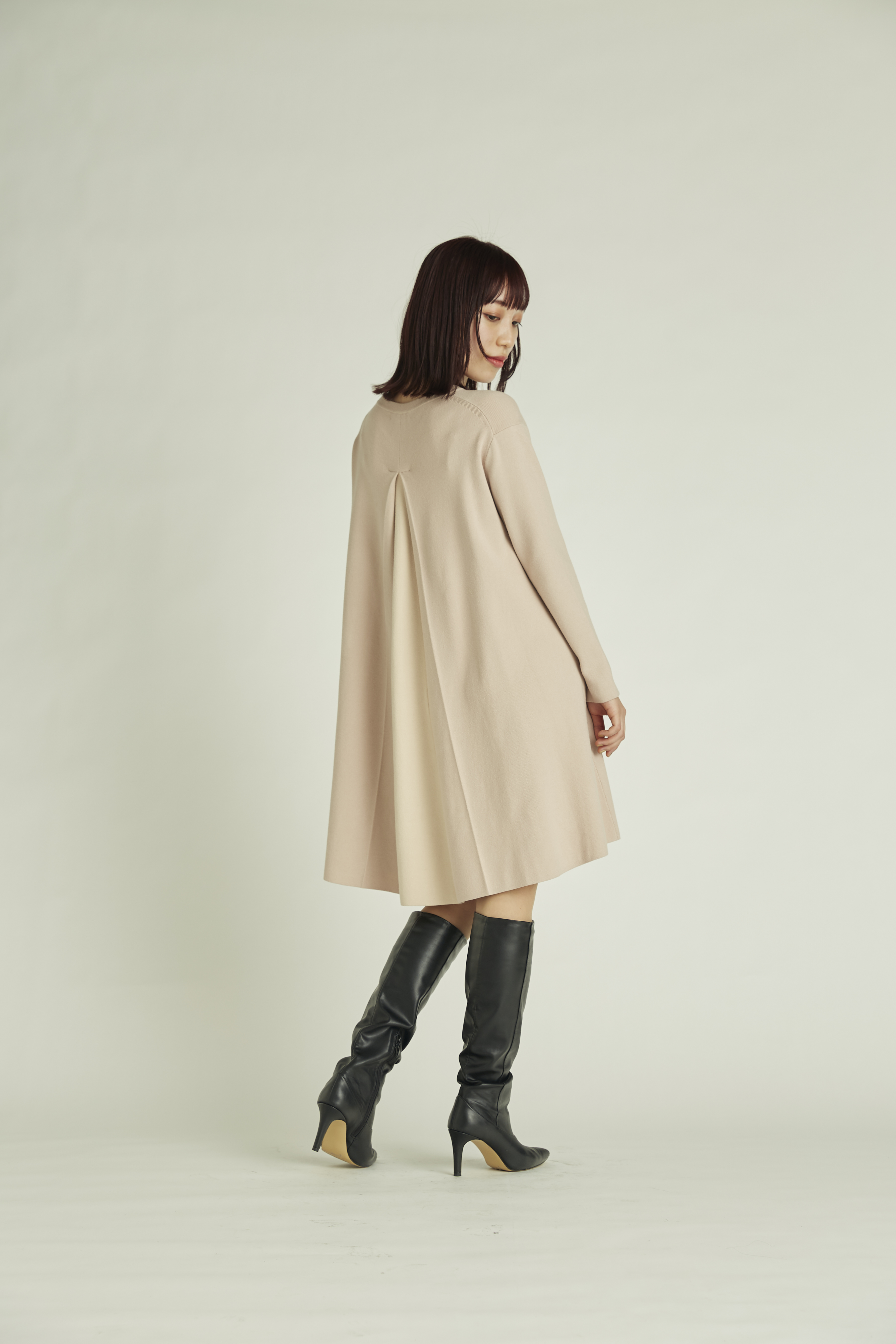 【NEW Year Special Knit Dress】バイカラーAラインニットワンピース(PBEG-36)
