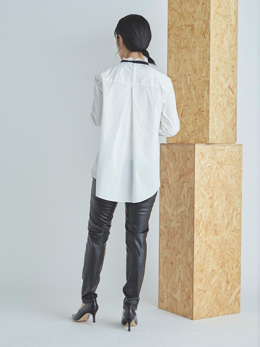ボウタイ付きスカラップシャツ   CWFB215047