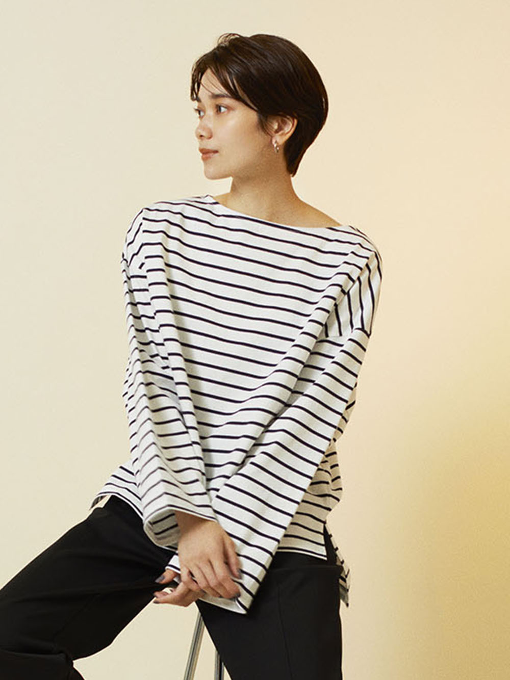 【emmi atelier】オーバーロングスリーブボーダーTeeシャツ(NVY-F)