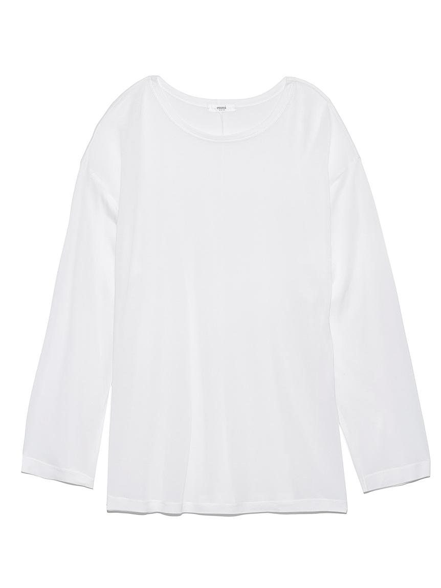 【emmi atelier】テンセルオーバーロングTシャツ(WHT-F)