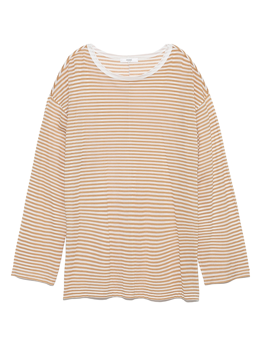 【emmi atelier】テンセルオーバーロングTシャツ(BORDER-F)