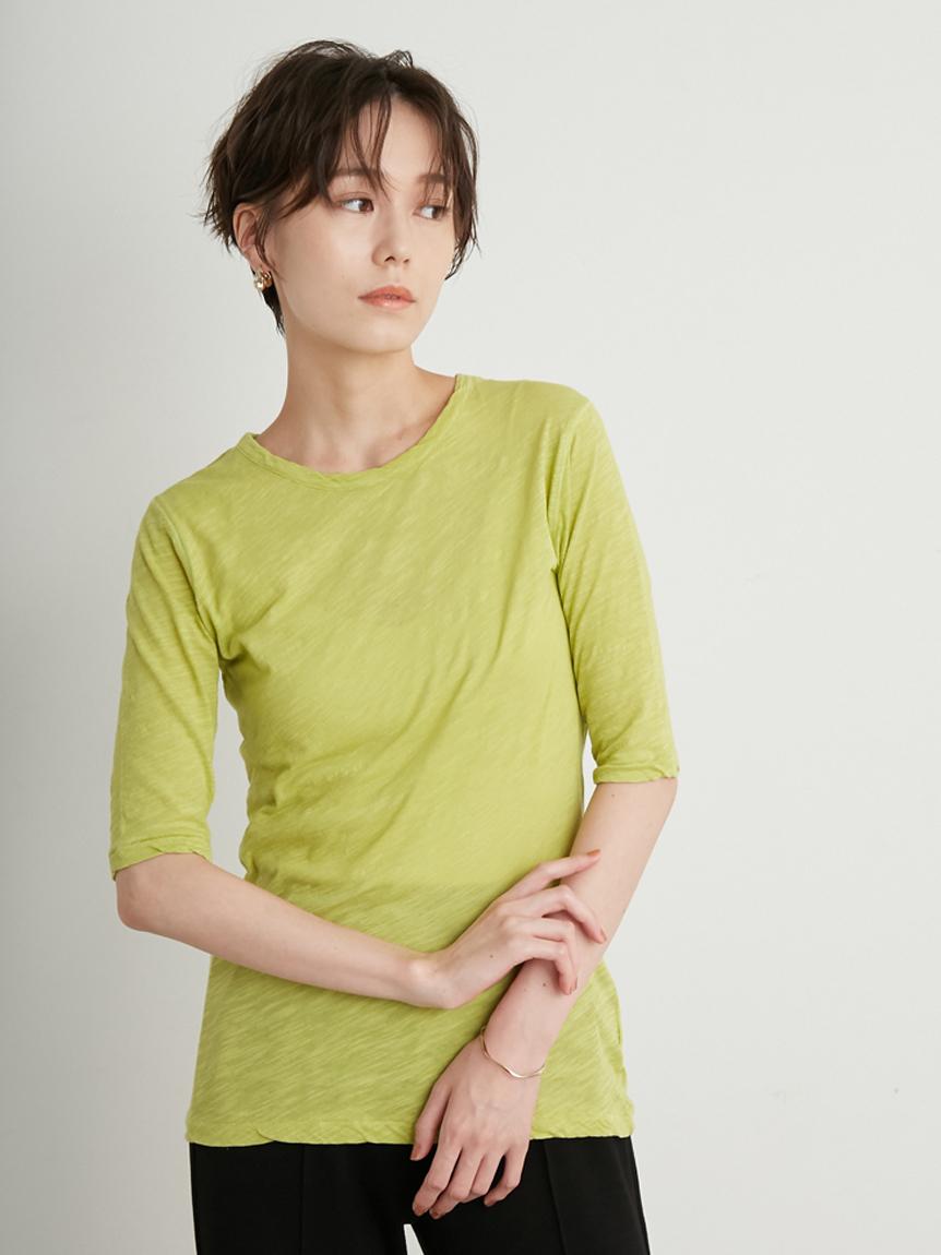 【emmi atelier】スラブ天竺5分丈Tシャツ(LIME-F)
