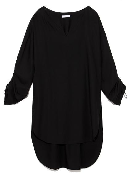 【emmi atelier】バックギャザーロングシャツ(BLK-0)