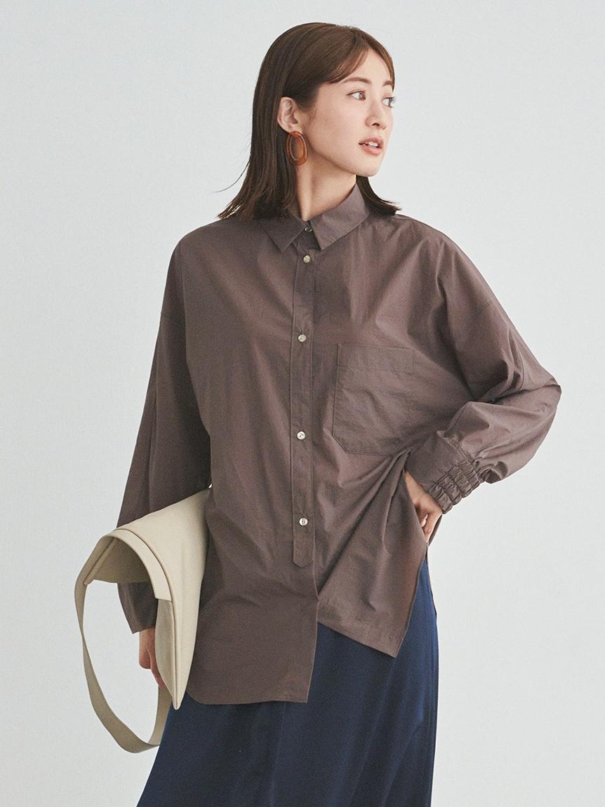 【emmi atelier】ストレッチBIGシャツ(BRW-F)