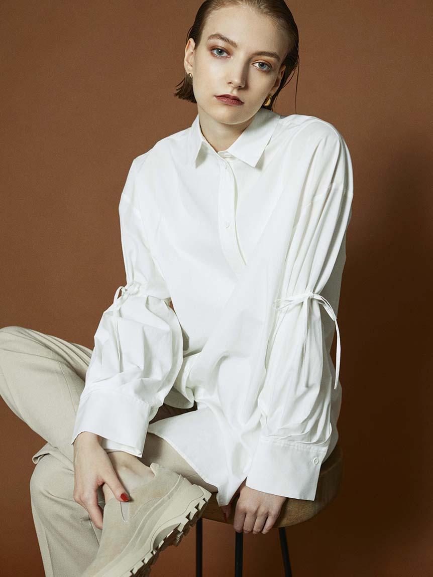 【emmi atelier】ビックスリーブシャツ(WHT-F)