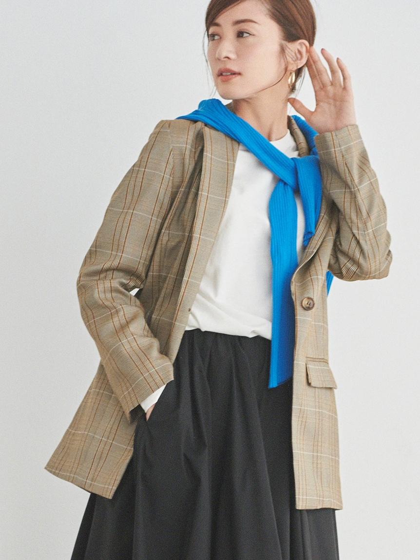 【emmi atelier】ストレッチシングルジャケット(CHECK-0)