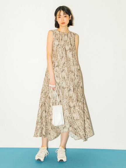 【emmi atelier】アースプリントドレス(BEG-0)