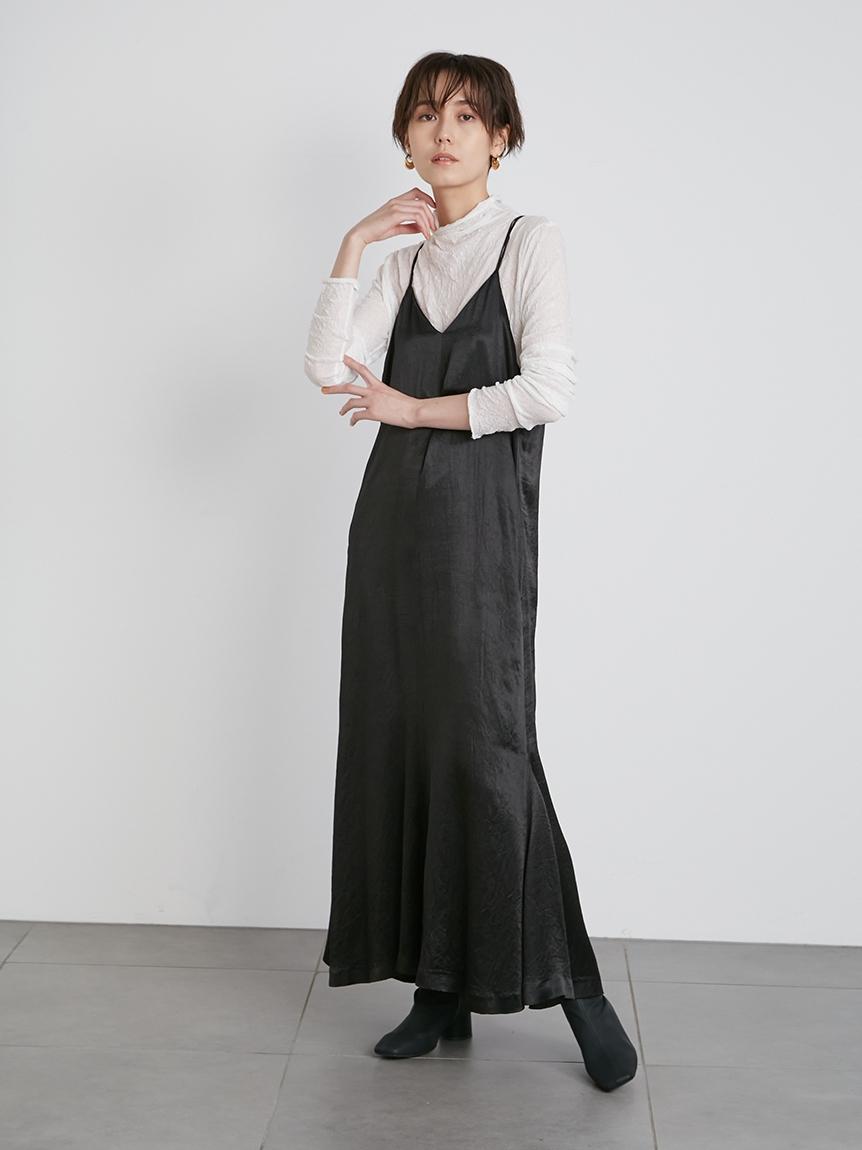 【emmi atelier】シアートップス付キャミワンピース(BLK-0)