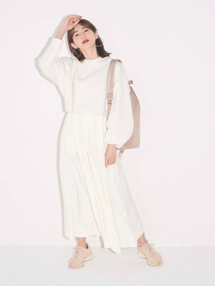 【emmi atelier】ダンボールプルオーバーSetスカート(OWHT-0)