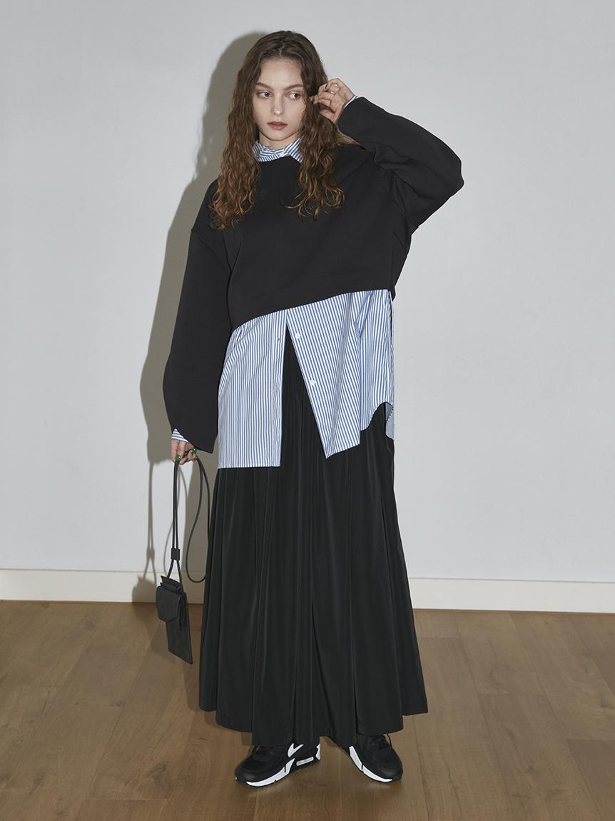 【emmi atelier】ダンボールプルオーバーSetスカート(BLK-0)