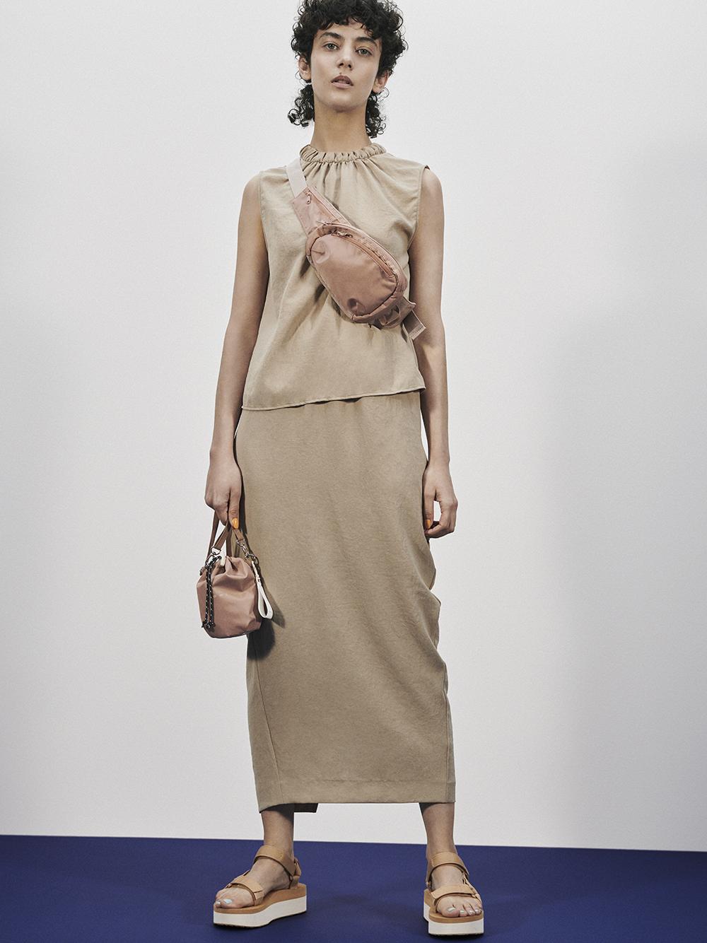 【emmi atelier】2WAYドライツイルスカート(BEG-0)