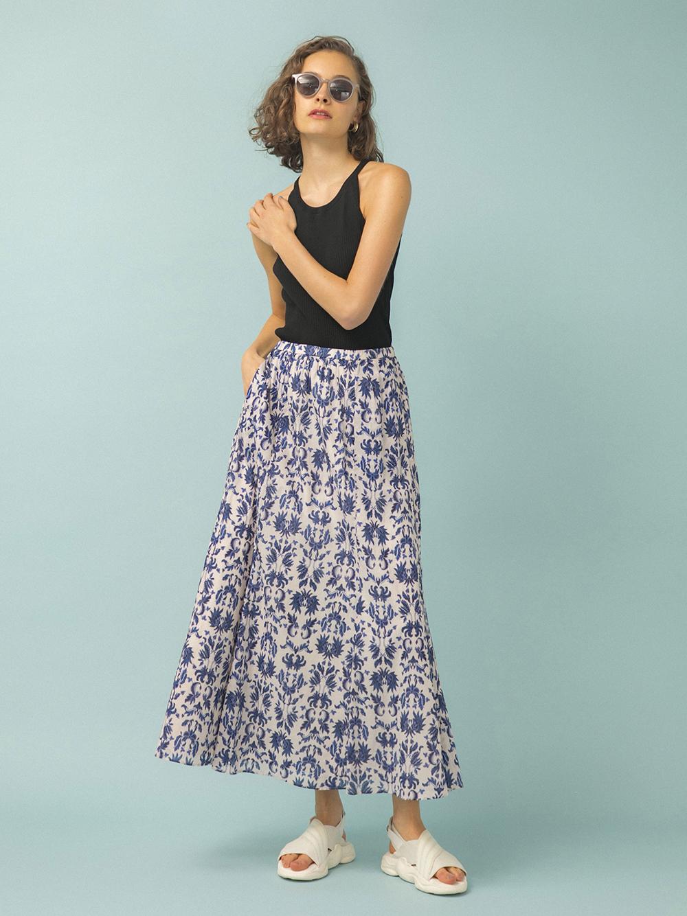 【emmi atelier】フラワースカート(BLU-0)
