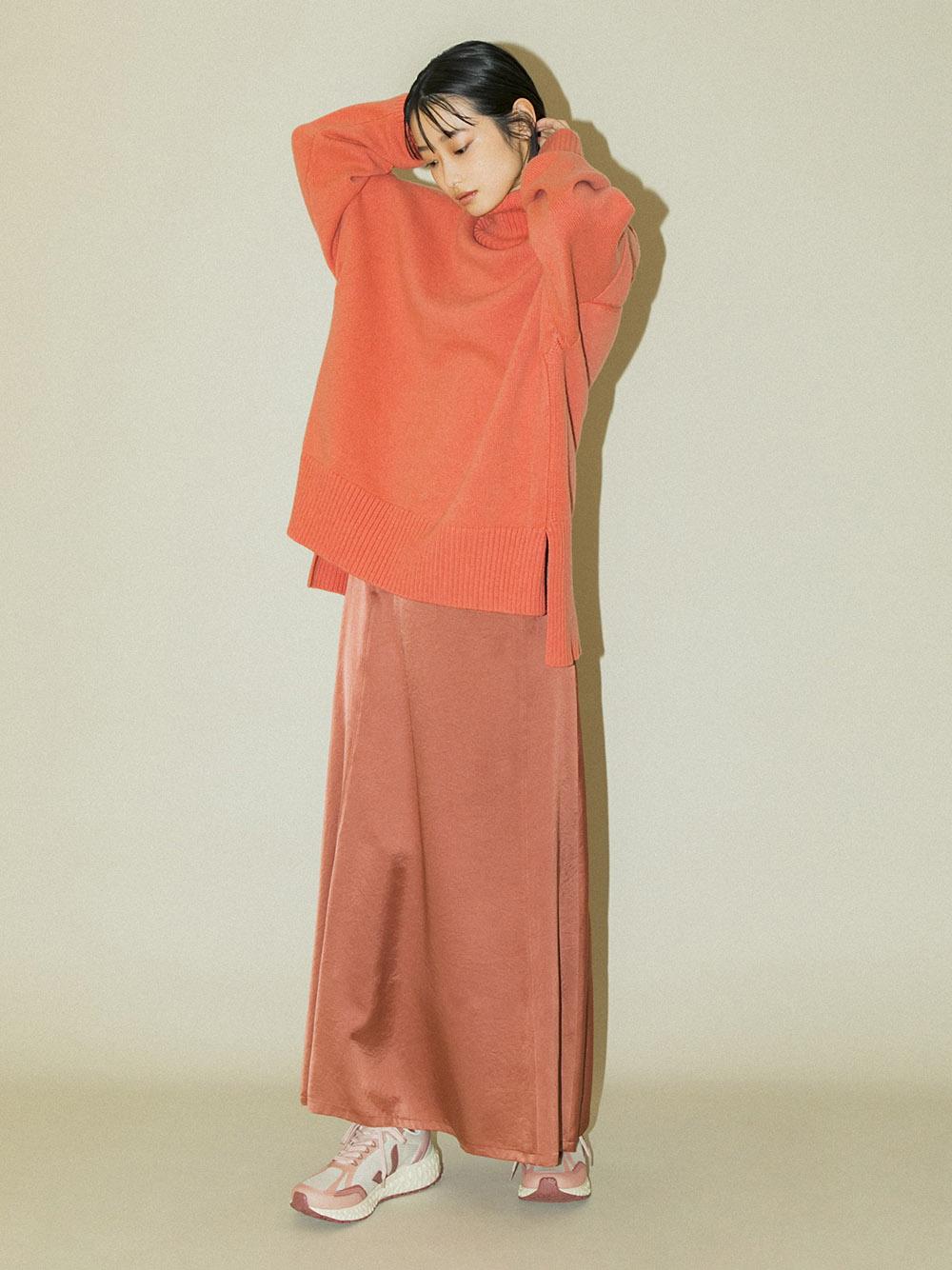 【emmi atelier】ハイウエストサテンスカート(PNK-0)