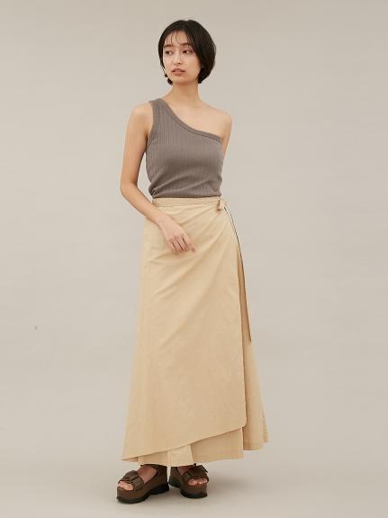 【emmi atelier】リネンナロー巻きスカート(BEG-0)