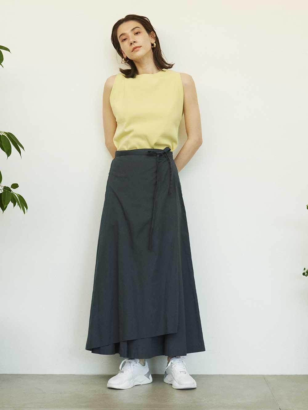 【emmi atelier】リネンナロー巻きスカート(NVY-0)