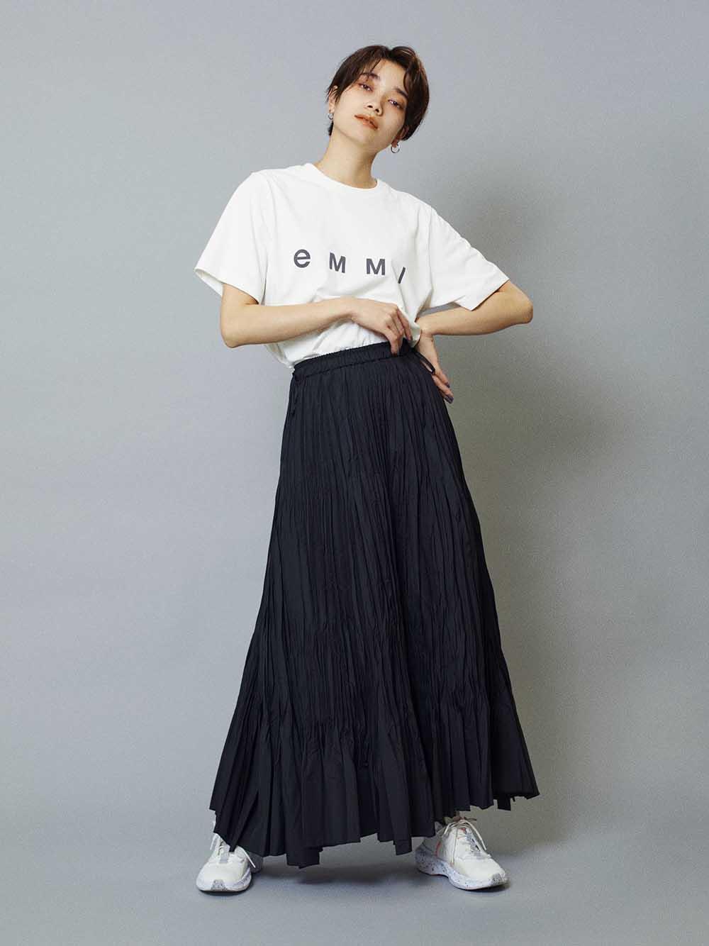 【emmi atelier】VIBTEXワッシャーパネルスカート(BLK-0)