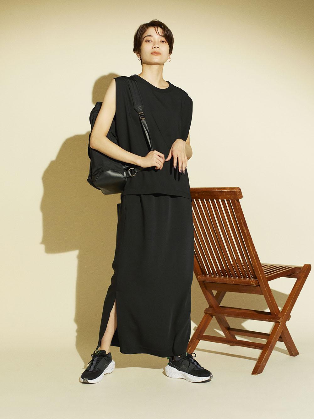 【emmi atelier】イージーケアIラインスカート(BLK-F)