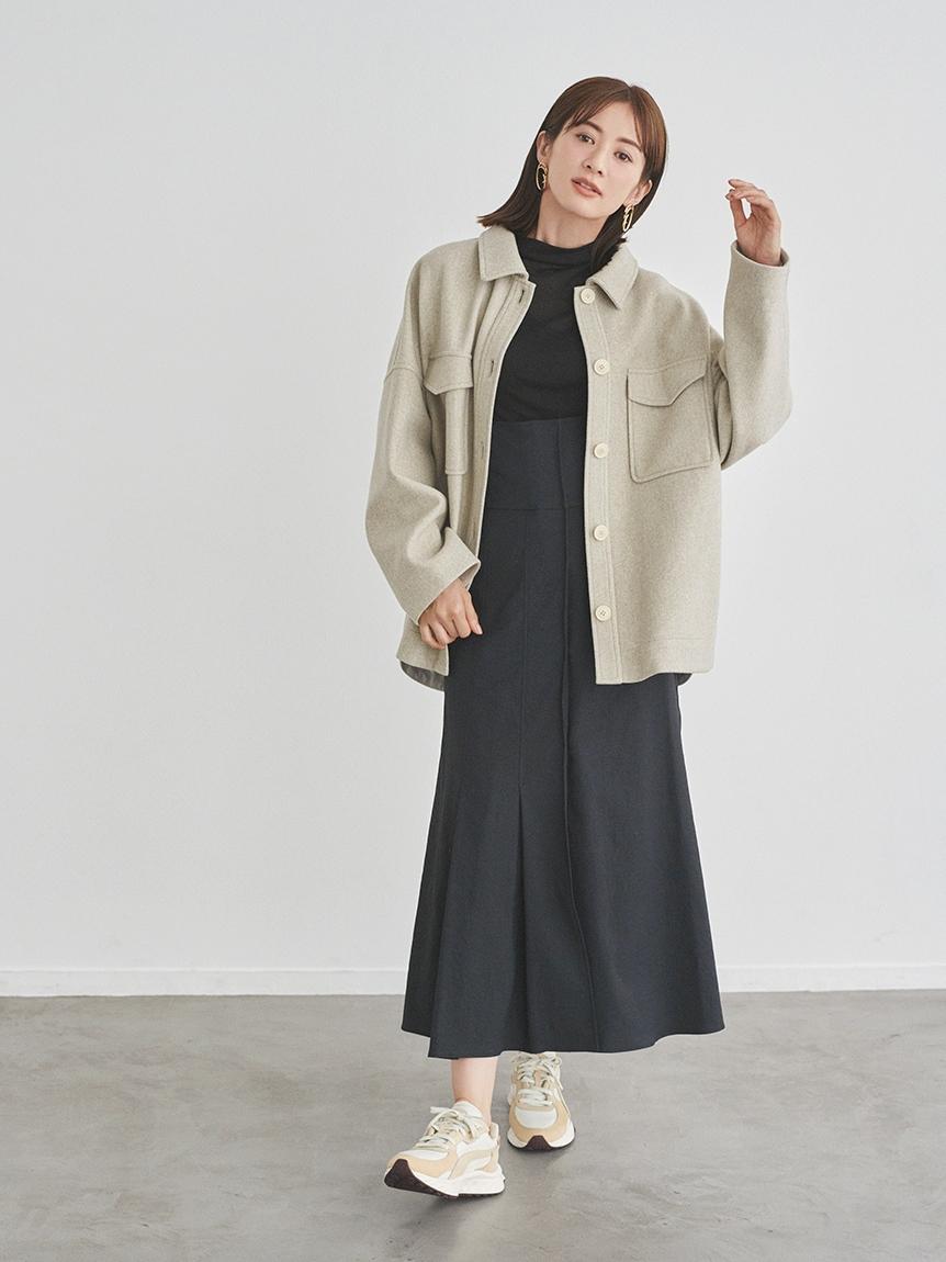 【emmi atelier】ハイウエストストレッチスカート(BLK-0)