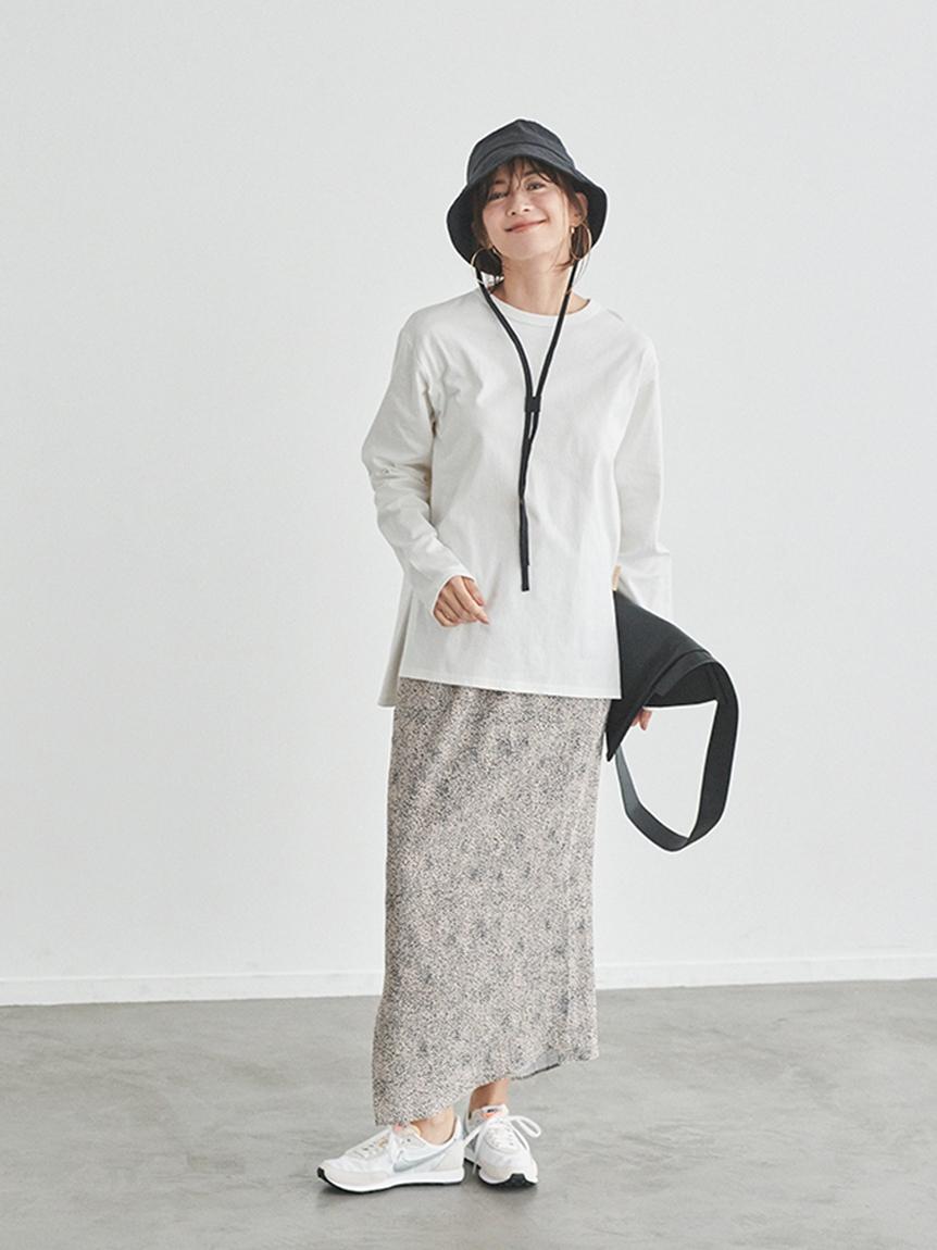 【emmi atelier】アニマルドット柄ヘムIラインスカート(BEG-0)