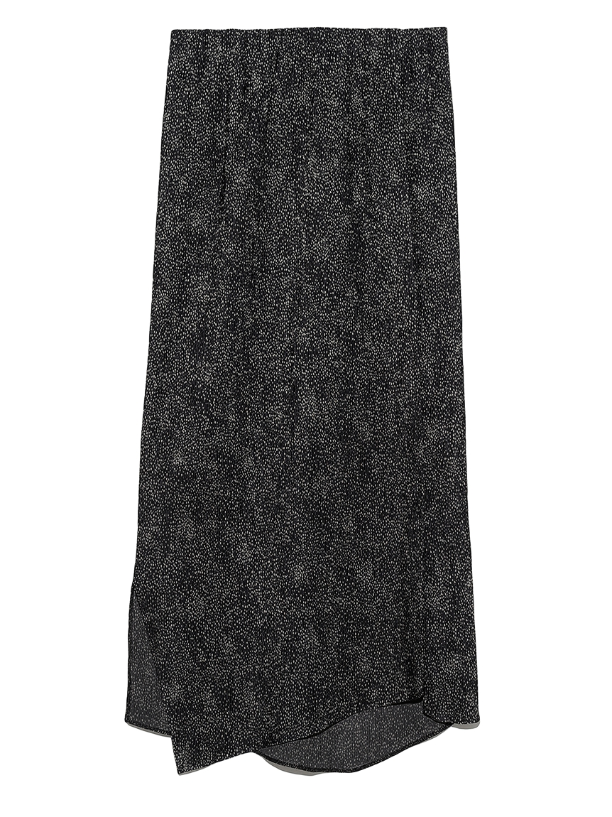 【emmi atelier】アニマルドット柄ヘムIラインスカート(BRW-0)