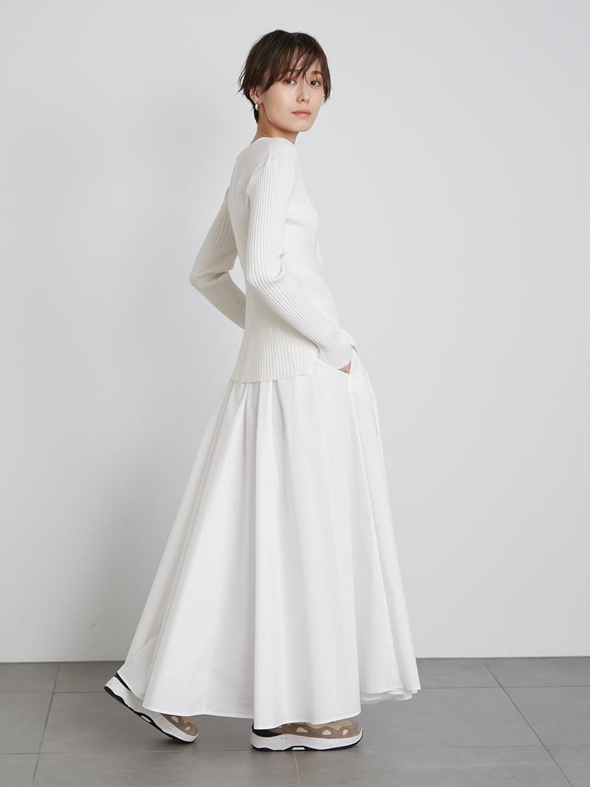 【emmi atelier】タフタギャザースカート(WHT-0)