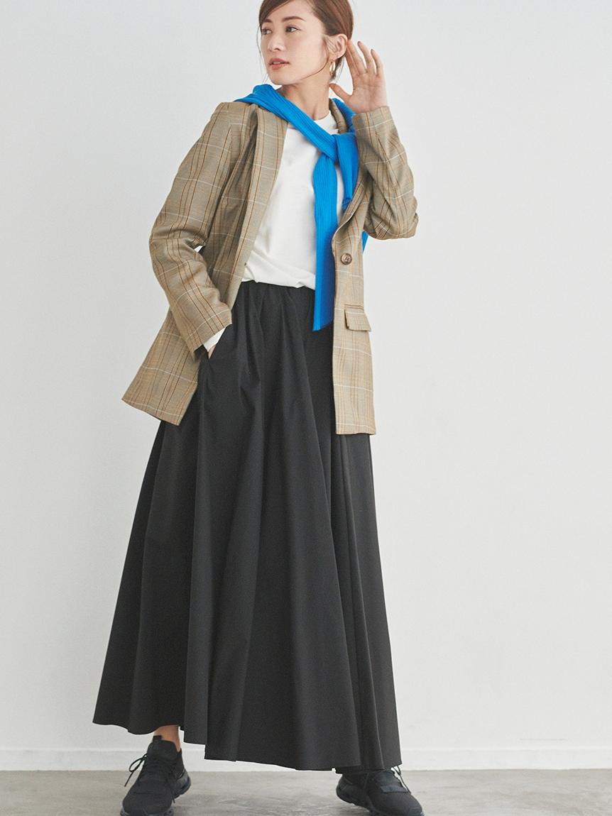 【emmi atelier】タフタギャザースカート(BLK-0)
