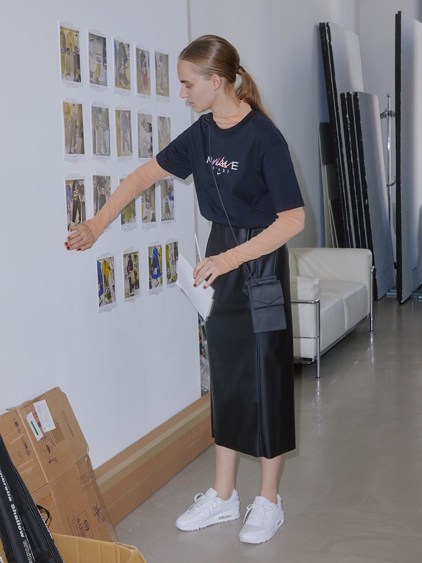 【emmi atelier】ECOレザースカート(BLK-0)