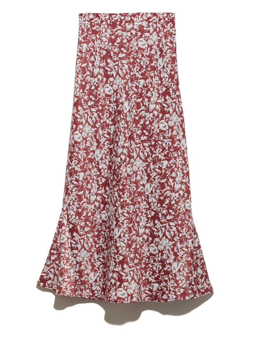 【emmi atelier】フラワープリントナロースカート(RED-0)