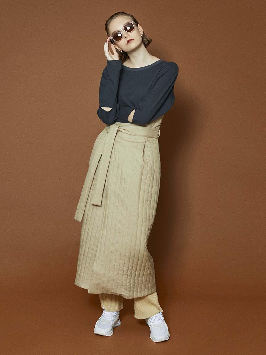 【emmi atelier】キルティングスカート(BEG-F)