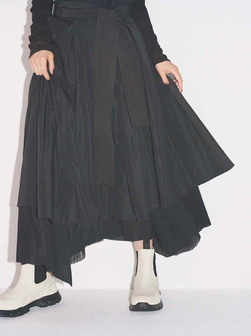 【emmi atelier】タフタプリーツコンビスカート(BLK-0)
