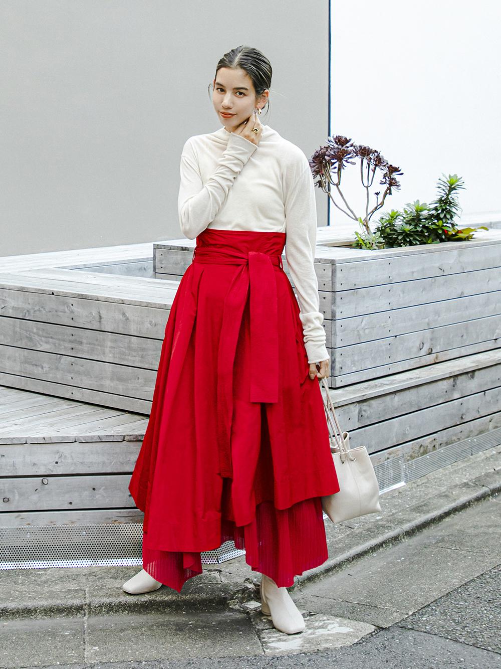 【emmi atelier】タフタプリーツコンビスカート(RED-0)