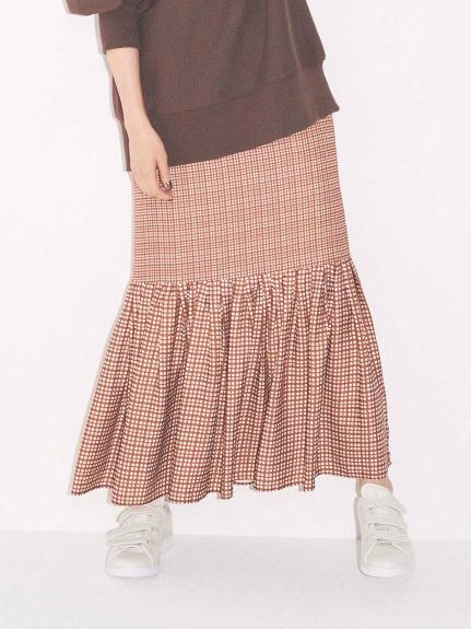 【emmi atelier】ヘムギャザーハイウエストスカート(CHECK-0)