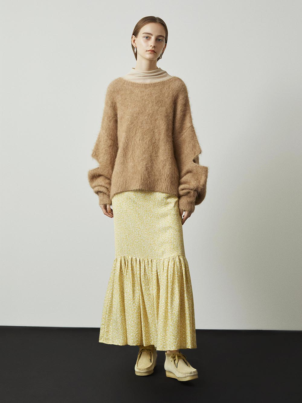 【emmi atelier】ヘムギャザーハイウエストスカート(FLOWER-0)