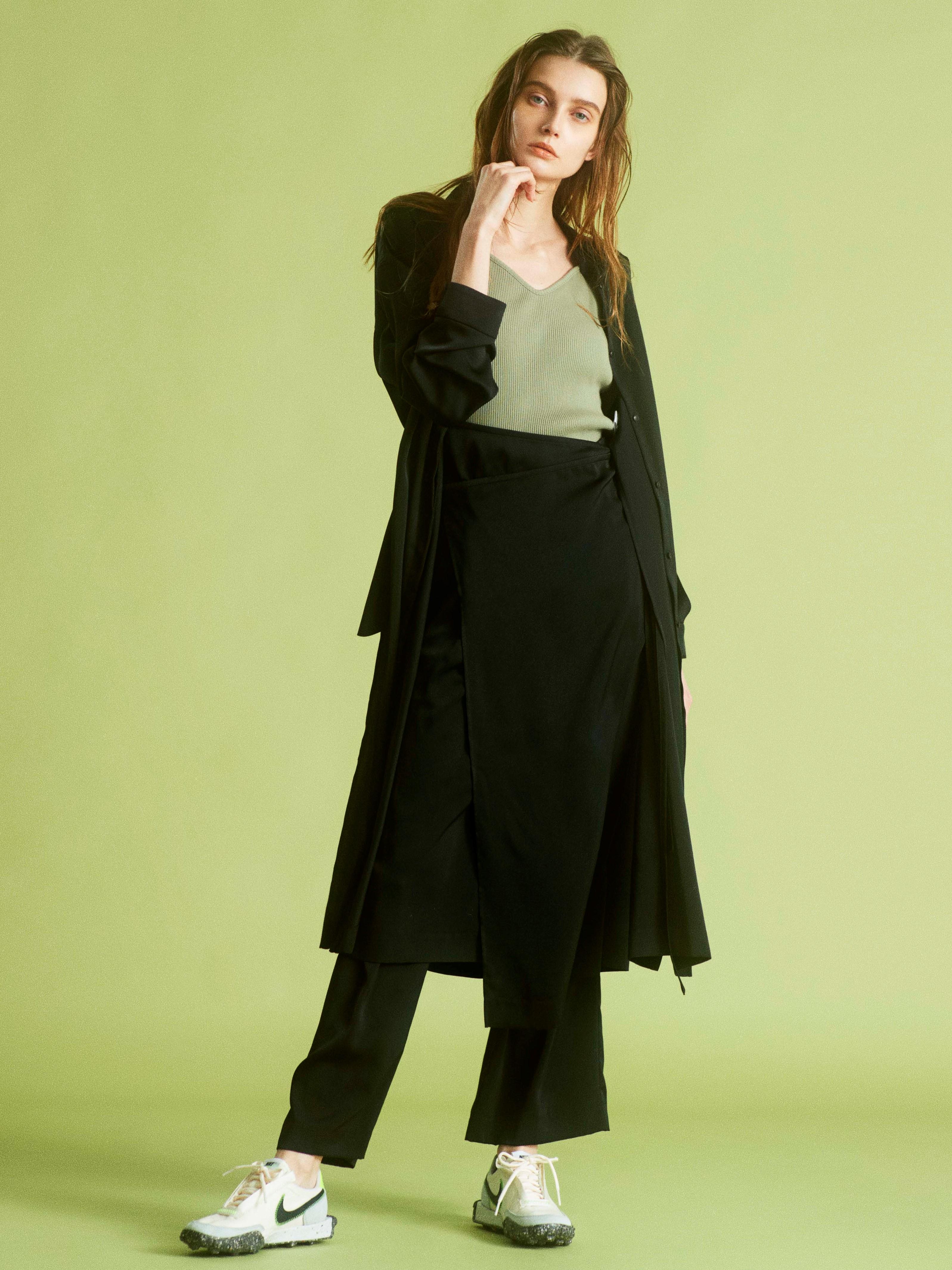 【emmi atelier】マルチロングワイドシャツ(BLK-0)
