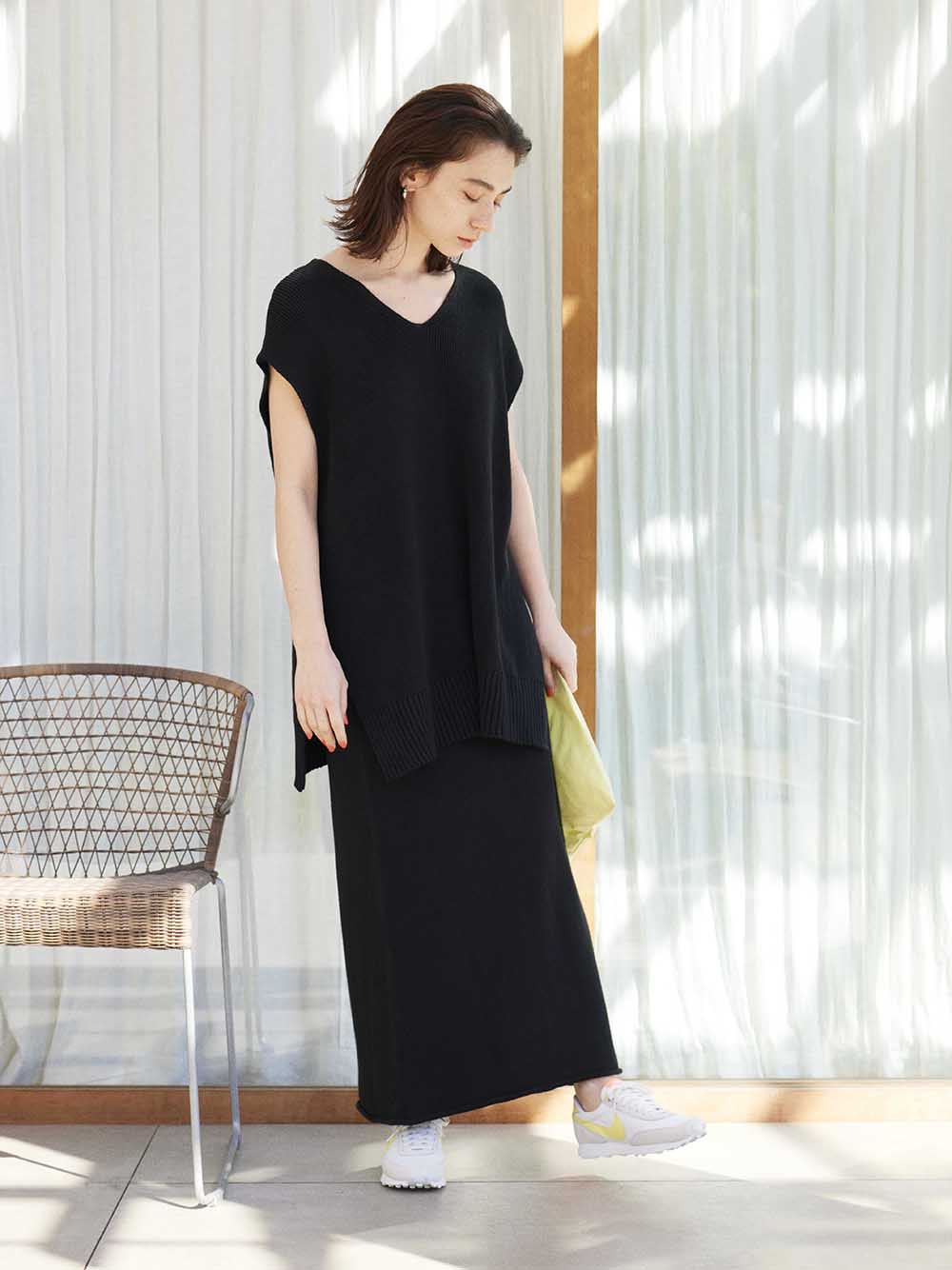 【emmi atelier】ニットタイトスカート(BLK-F)