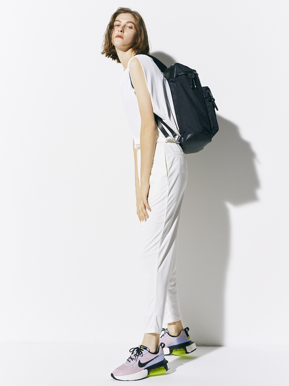 【emmi yoga】テーパードリボンパンツ(WHT-0)